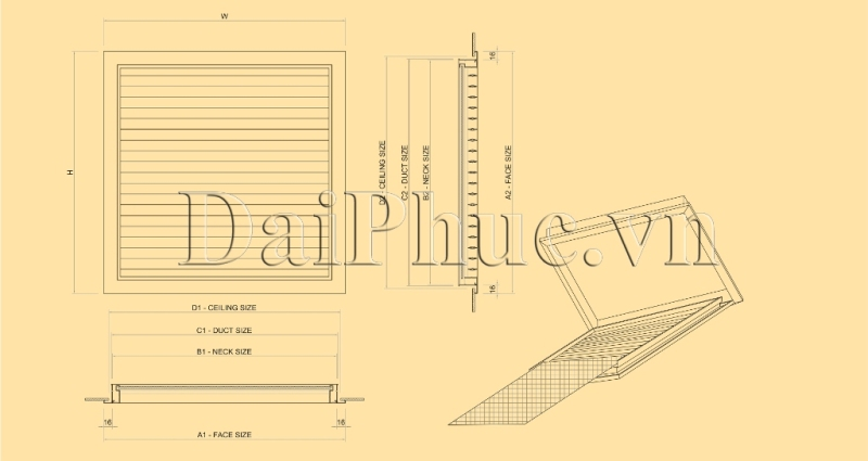 Bản vẽ kỹ thuật của sản phẩm: Cửa gió hồi có lưới lọc bụi FRG