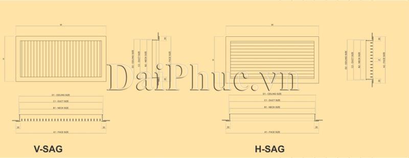 Bản vẽ kỹ thuật của sản phẩm: Cửa gió một lớp nan ngang SAD