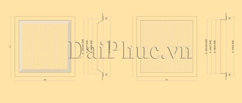 Bản vẽ kỹ thuật của sản phẩm: Cửa gió tôn soi lỗ PFD