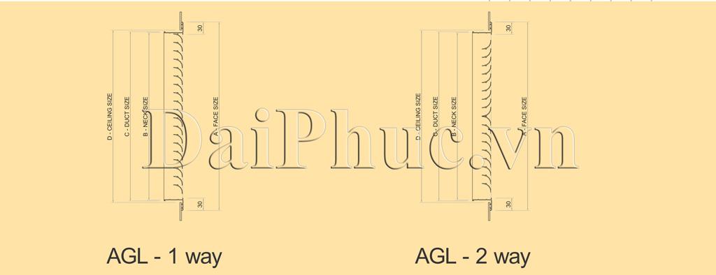 Bản vẽ kỹ thuật của sản phẩm: Cửa gió hắt nan cong AGL - 1 WAY, AGL - 2 WAY