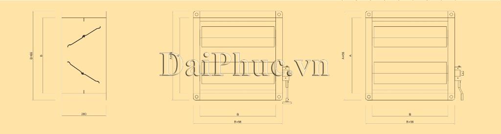 Bản vẽ kỹ thuật của sản phẩm Van đường ống gió tay gạt: D-VCD
