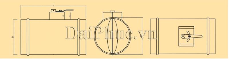 Bản vẽ kỹ thuật của sản phẩm Van gió tròn tay trục vít: R-VCD