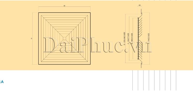 Bản vẽ kỹ thuật của sản phẩm: Cửa gió khuếch tán kiểu 2 SAD