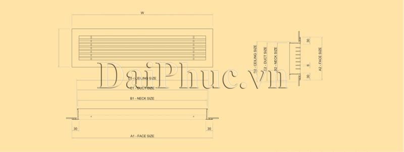 Bản vẽ kỹ thuật của sản phẩm: Cửa gió thổi khe nan T